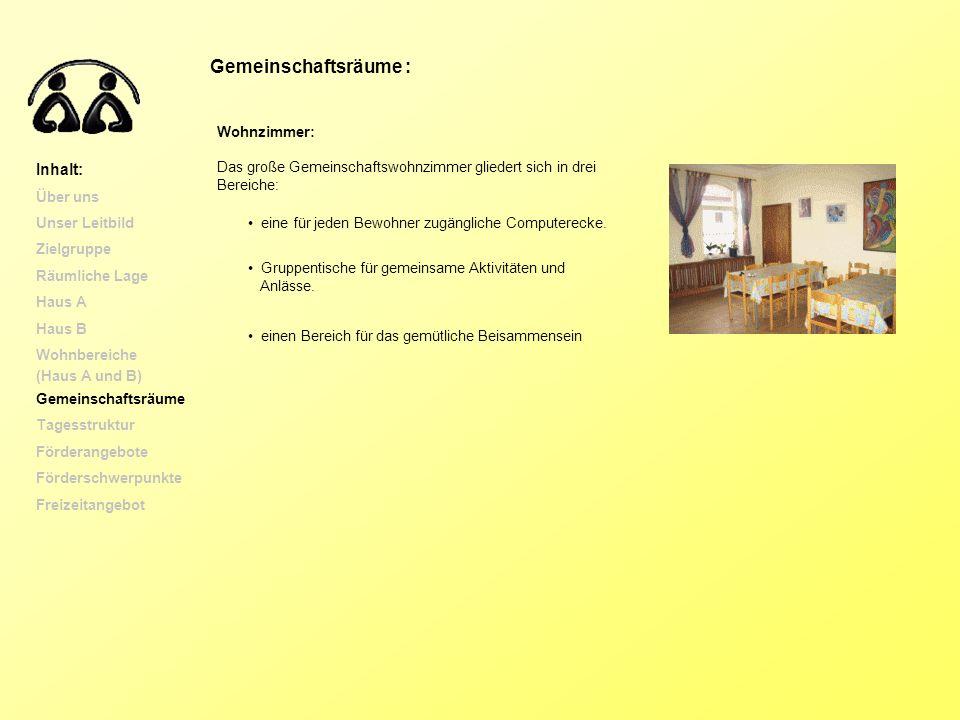 Gemeinschaftsräume : Wohnzimmer: Das große Gemeinschaftswohnzimmer gliedert sich in drei Bereiche: eine für jeden Bewohner zugängliche Computerecke. G