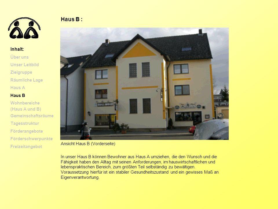 Ansicht Haus B (Vorderseite) In unser Haus B können Bewohner aus Haus A umziehen, die den Wunsch und die Fähigkeit haben den Alltag mit seinen Anforde
