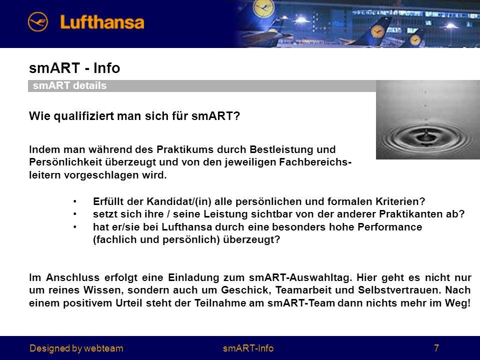 Designed by webteam smART - Info 7 Wie qualifiziert man sich für smART.