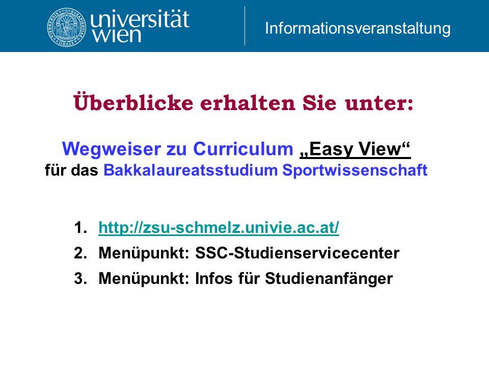 Wegweiser zu Curriculum Easy View für das Bakkalaureatsstudium Sportwissenschaft 1.http://zsu-schmelz.univie.ac.at/http://zsu-schmelz.univie.ac.at/ 2.Menüpunkt: SSC-Studienservicecenter 3.Menüpunkt: Infos für Studienanfänger Überblicke erhalten Sie unter: