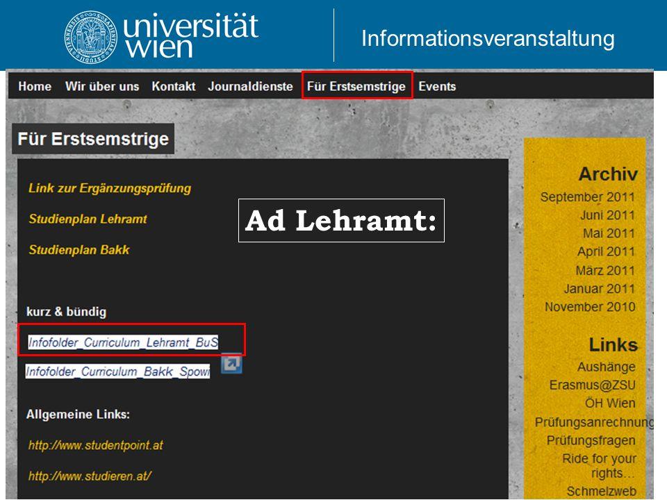 Informationsveranstaltung Ad Lehramt: