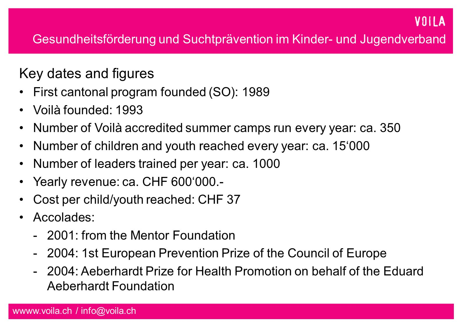 Gesundheitsförderung und Suchtprävention im Kinder- und Jugendverband wwww.voila.ch / info@voila.ch Key dates and figures First cantonal program founded (SO): 1989 Voilà founded: 1993 Number of Voilà accredited summer camps run every year: ca.