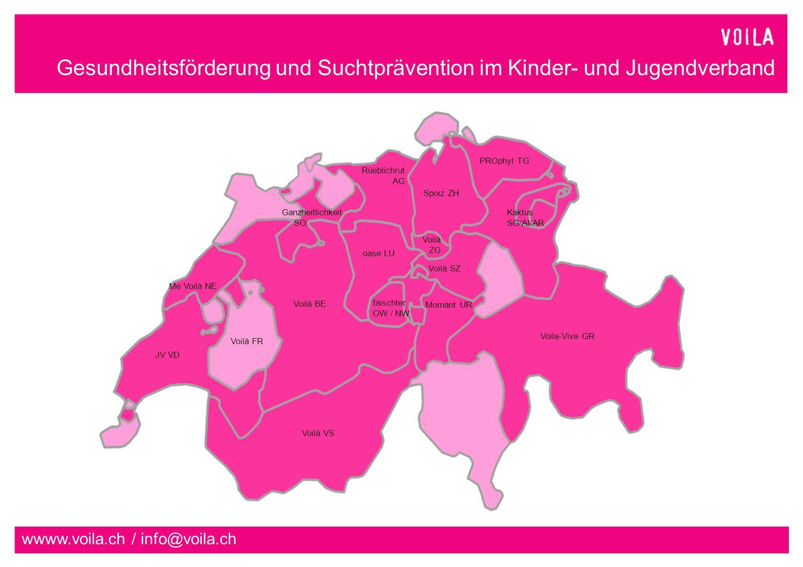 Gesundheitsförderung und Suchtprävention im Kinder- und Jugendverband wwww.voila.ch / info@voila.ch Project implementation 4) Camp supervision 5) Evaluation