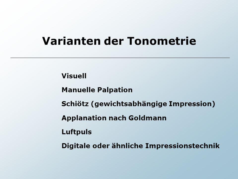 Varianten der Tonometrie Visuell Manuelle Palpation Schiötz (gewichtsabhängige Impression) Applanation nach Goldmann Luftpuls Digitale oder ähnliche I