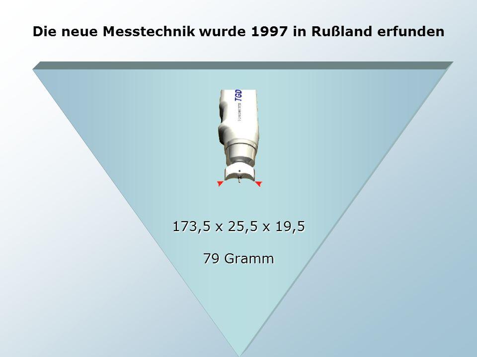 Die neue Messtechnik wurde 1997 in Rußland erfunden 173,5 x 25,5 x 19,5 79 Gramm