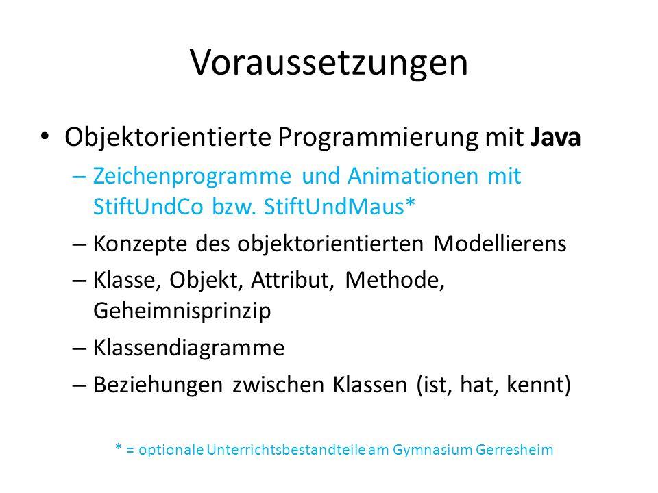 Voraussetzungen Objektorientierte Programmierung mit Java – Zeichenprogramme und Animationen mit StiftUndCo bzw.