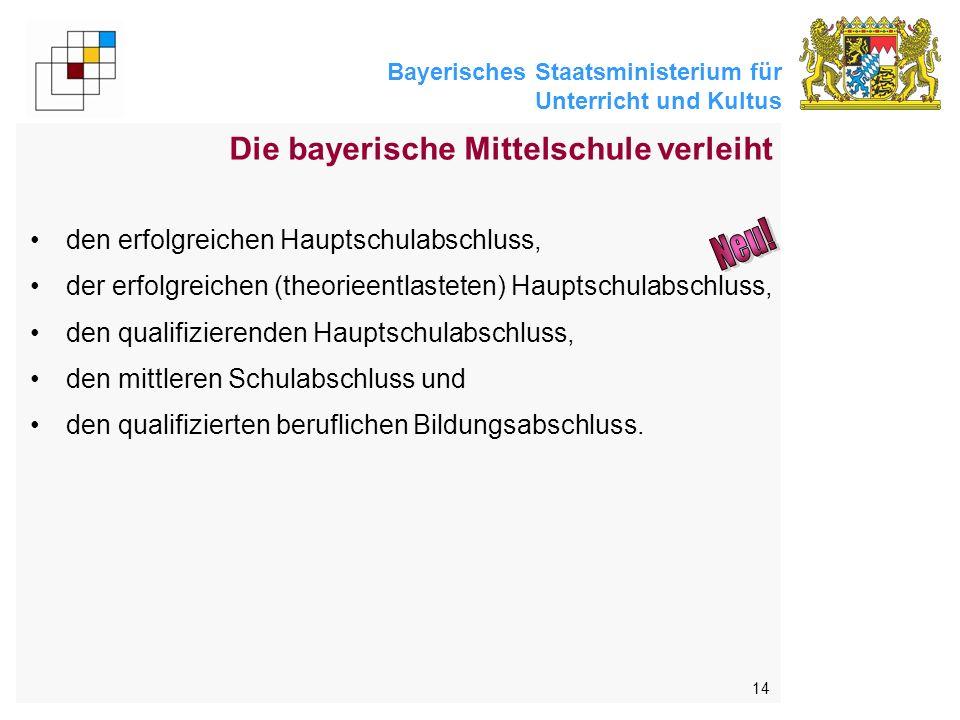 Bayerisches Staatsministerium für Unterricht und Kultus 14 Die bayerische Mittelschule verleiht den erfolgreichen Hauptschulabschluss, der erfolgreichen (theorieentlasteten) Hauptschulabschluss, den qualifizierenden Hauptschulabschluss, den mittleren Schulabschluss und den qualifizierten beruflichen Bildungsabschluss.