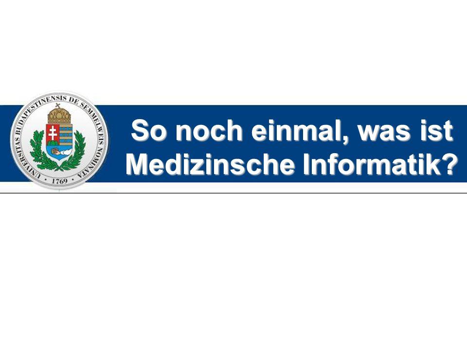 So noch einmal, was ist Medizinsche Informatik?