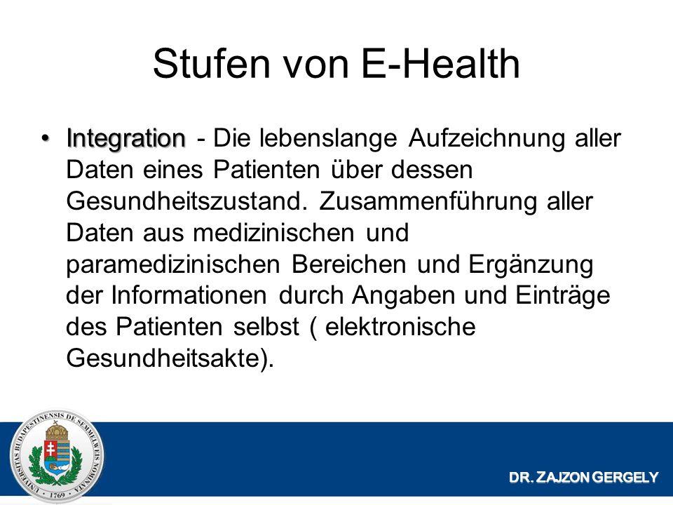 Stufen von E-Health IntegrationIntegration - Die lebenslange Aufzeichnung aller Daten eines Patienten über dessen Gesundheitszustand.