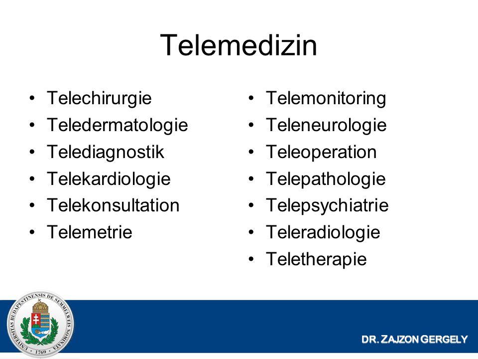 Telemedizin Telechirurgie Teledermatologie Telediagnostik Telekardiologie Telekonsultation Telemetrie Telemonitoring Teleneurologie Teleoperation Telepathologie Telepsychiatrie Teleradiologie Teletherapie DR.