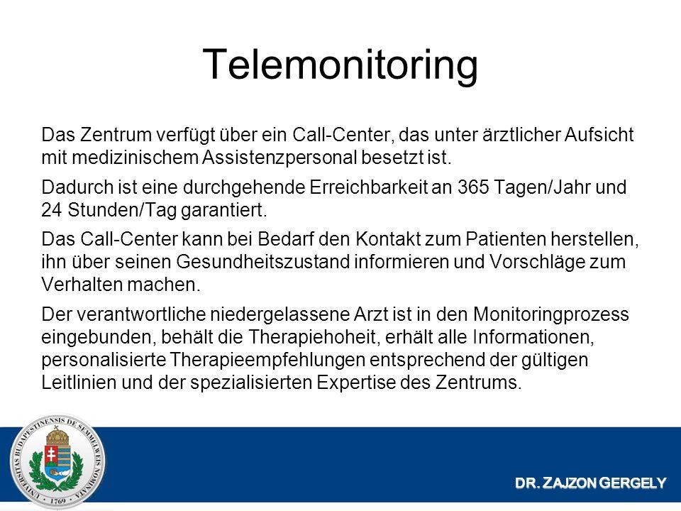 Telemonitoring Das Zentrum verfügt über ein Call-Center, das unter ärztlicher Aufsicht mit medizinischem Assistenzpersonal besetzt ist.