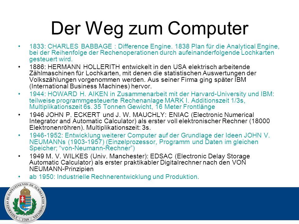 Der Weg zum Computer 1833: CHARLES BABBAGE : Difference Engine.