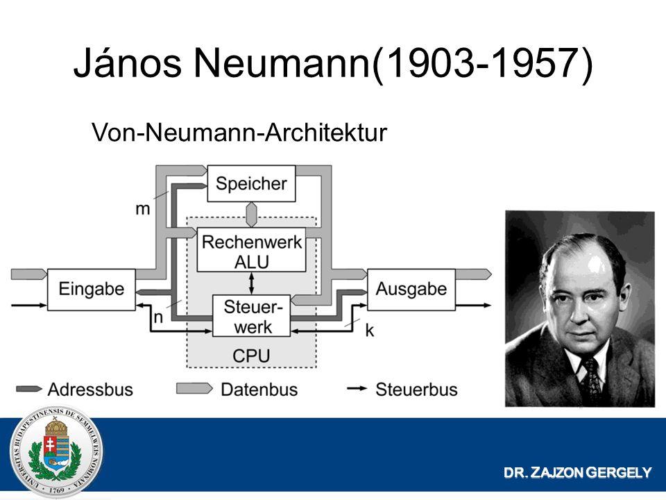 János Neumann(1903-1957) DR. Z AJZON G ERGELY Von-Neumann-Architektur