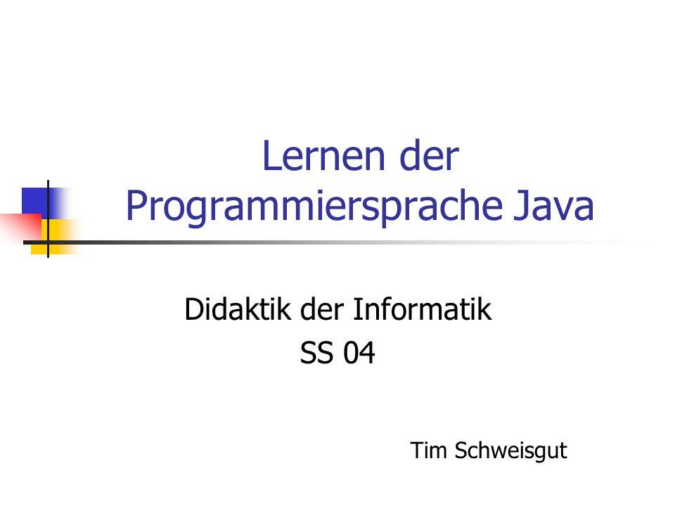 Lernen der Programmiersprache Java Didaktik der Informatik SS 04 Tim Schweisgut
