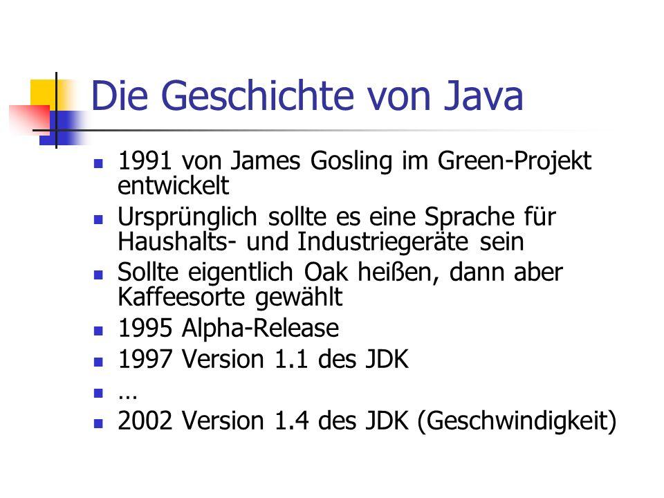 Die Geschichte von Java 1991 von James Gosling im Green-Projekt entwickelt Ursprünglich sollte es eine Sprache für Haushalts- und Industriegeräte sein