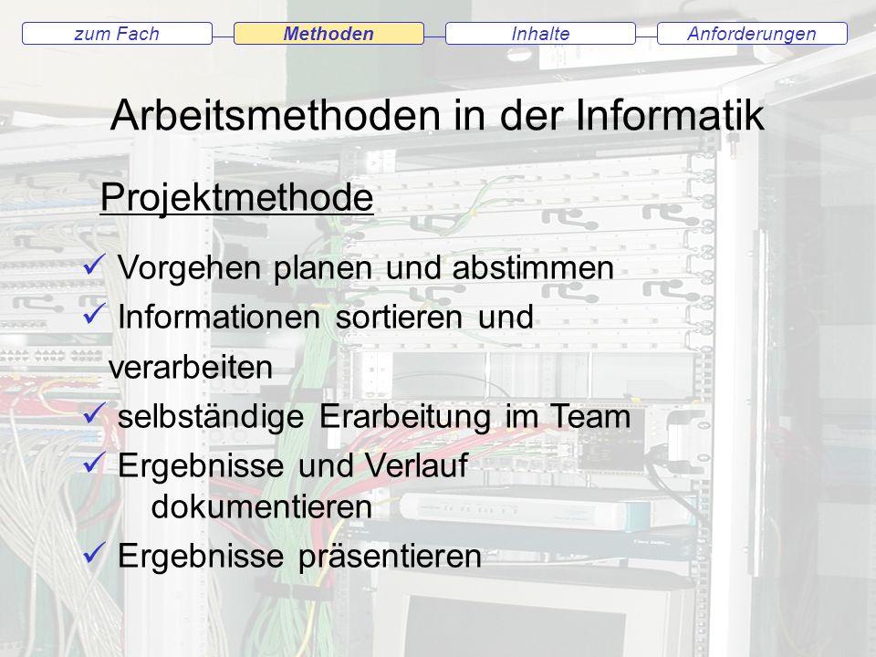 Arbeitsmethoden in der Informatik zum FachMethodenAnforderungenInhaltezum Fach Methoden Projektmethode Vorgehen planen und abstimmen Informationen sor