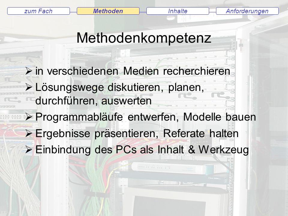 Methodenkompetenz in verschiedenen Medien recherchieren Lösungswege diskutieren, planen, durchführen, auswerten Programmabläufe entwerfen, Modelle bauen Ergebnisse präsentieren, Referate halten Einbindung des PCs als Inhalt & Werkzeug AnforderungenInhaltezum Fach Methoden
