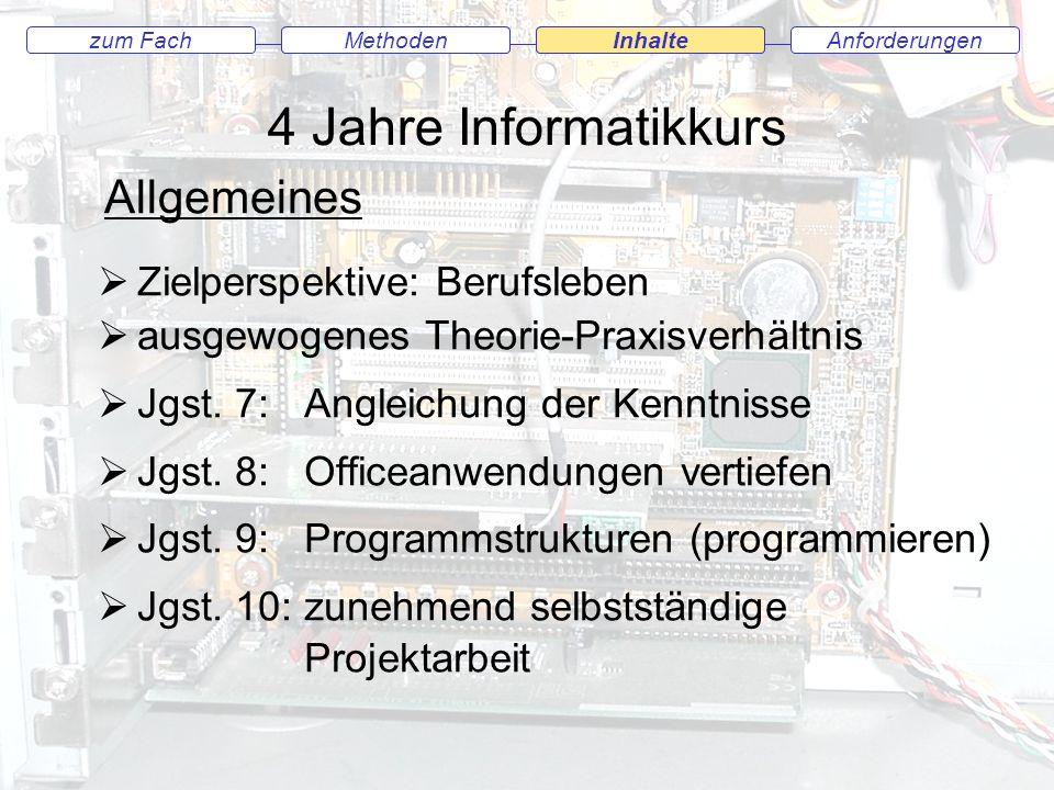 AnforderungenMethodenInhaltezum Fach Jahrgang 7 4 Wochenstunden / 6 Klassenarbeiten Angleichung der Kenntnisse Prinzip der Datenverarbeitung Informationsdarstellung mit Grafik- und Textdokumenten Präsentationen Internet