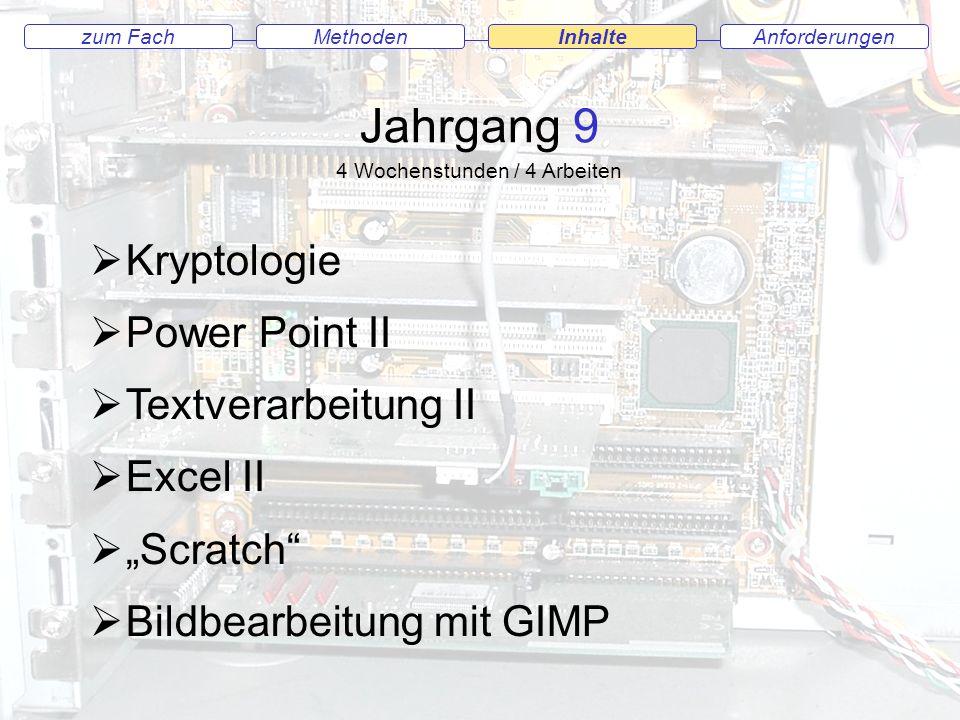 AnforderungenMethodenInhaltezum Fach Jahrgang 9 Kryptologie Power Point II Textverarbeitung II Excel II Scratch Bildbearbeitung mit GIMP 4 Wochenstunden / 4 Arbeiten