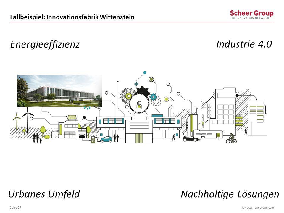 www.scheer-group.com Fallbeispiel: Innovationsfabrik Wittenstein Seite 17 Nachhaltige LösungenUrbanes Umfeld Industrie 4.0 Energieeffizienz