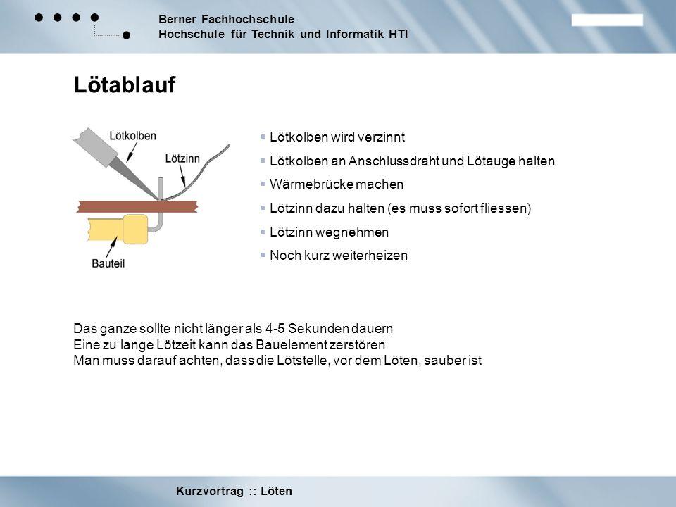 Berner Fachhochschule Hochschule für Technik und Informatik HTI Kurzvortrag :: Löten Lötablauf Lötkolben wird verzinnt Lötkolben an Anschlussdraht und