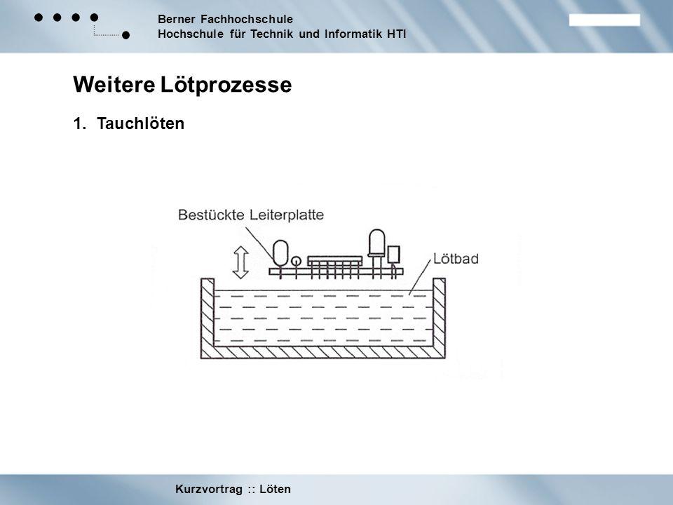 Berner Fachhochschule Hochschule für Technik und Informatik HTI Kurzvortrag :: Löten Weitere Lötprozesse 1. Tauchlöten