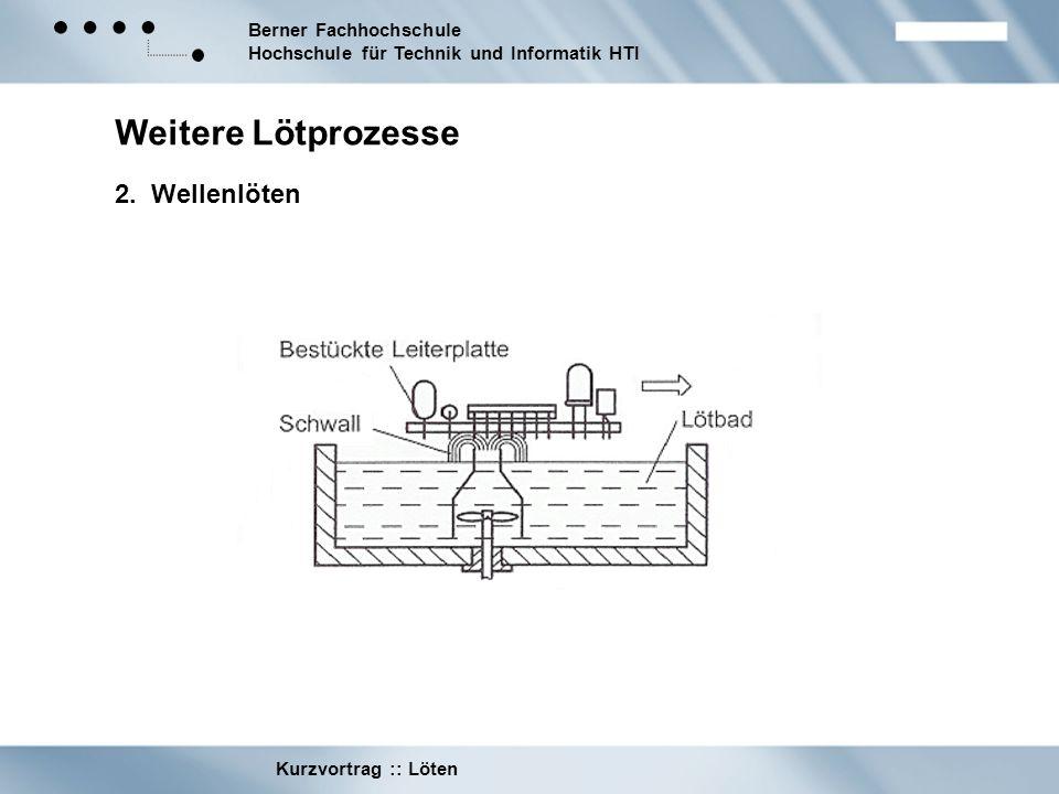 Berner Fachhochschule Hochschule für Technik und Informatik HTI Kurzvortrag :: Löten Weitere Lötprozesse 2. Wellenlöten