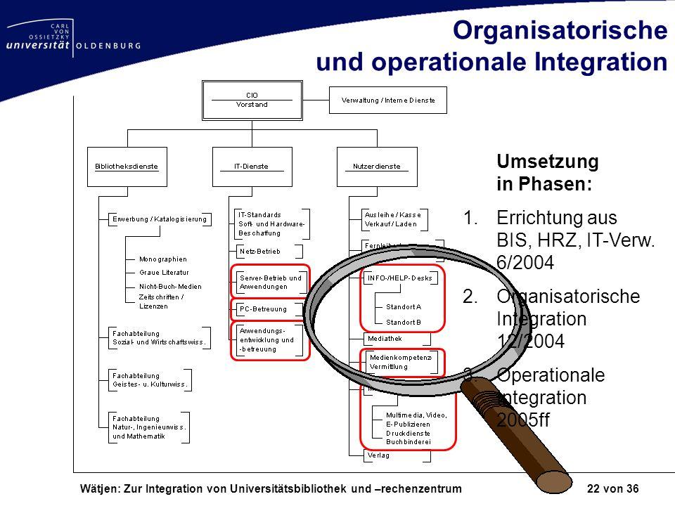 Wätjen: Zur Integration von Universitätsbibliothek und –rechenzentrum 22 von 36 Organisatorische und operationale Integration Umsetzung in Phasen: 1.E