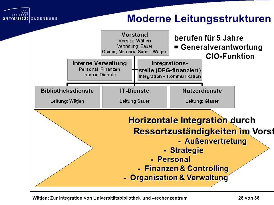 Wätjen: Zur Integration von Universitätsbibliothek und –rechenzentrum 26 von 36 Moderne Leitungsstrukturen Horizontale Integration durch Ressortzustän
