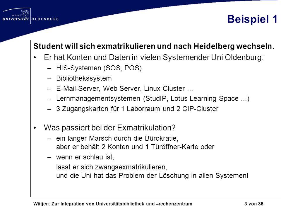 Wätjen: Zur Integration von Universitätsbibliothek und –rechenzentrum 3 von 36 Beispiel 1 Student will sich exmatrikulieren und nach Heidelberg wechse