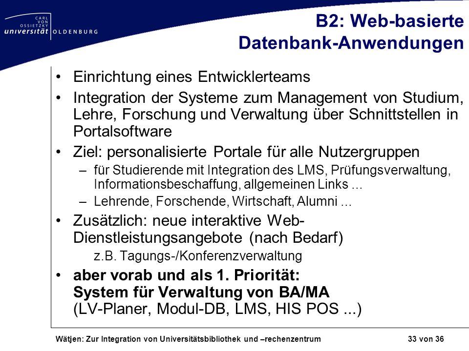 Wätjen: Zur Integration von Universitätsbibliothek und –rechenzentrum 33 von 36 B2: Web-basierte Datenbank-Anwendungen Einrichtung eines Entwicklertea