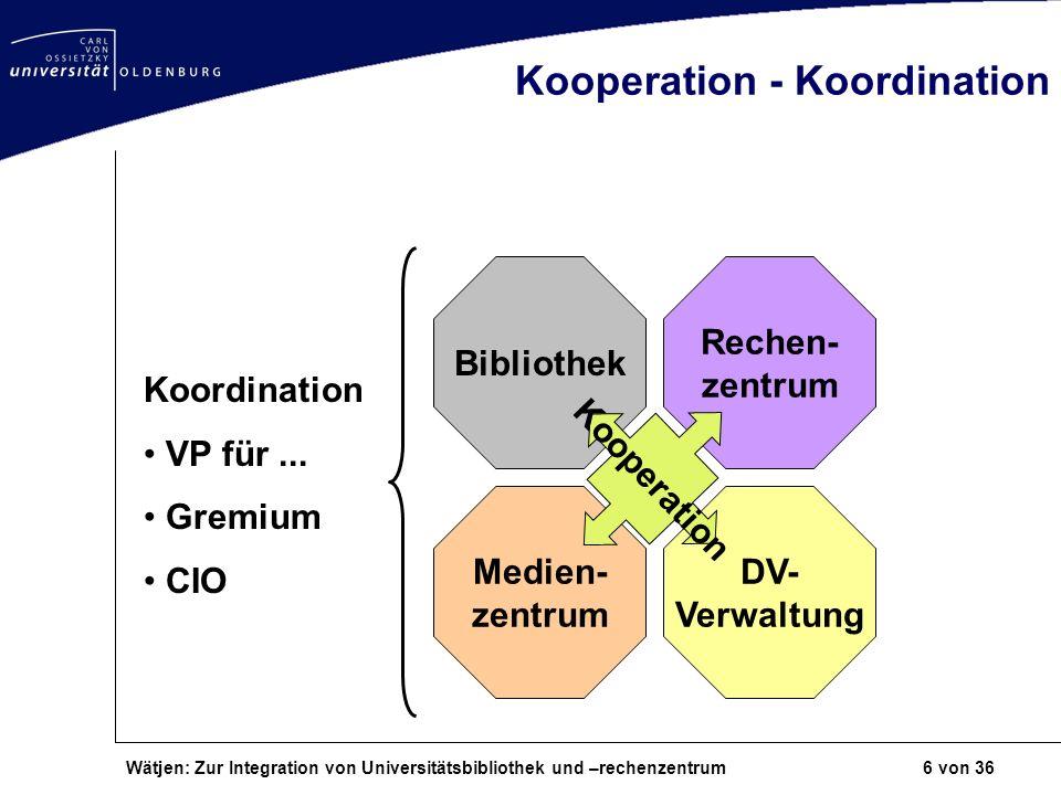 Wätjen: Zur Integration von Universitätsbibliothek und –rechenzentrum 6 von 36 Kooperation - Koordination Bibliothek Rechen- zentrum Medien- zentrum D