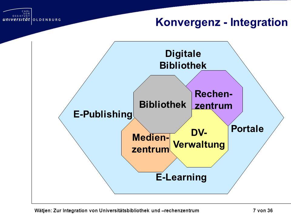 Wätjen: Zur Integration von Universitätsbibliothek und –rechenzentrum 7 von 36 Konvergenz - Integration Rechen- zentrum Medien- zentrum DV- Verwaltung