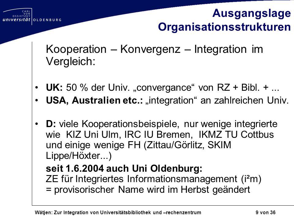 Wätjen: Zur Integration von Universitätsbibliothek und –rechenzentrum 9 von 36 Ausgangslage Organisationsstrukturen Kooperation – Konvergenz – Integra