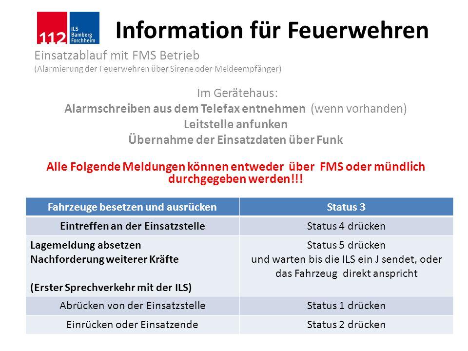 Information für Feuerwehren Einsatzablauf mit FMS Betrieb (Alarmierung der Feuerwehren über Sirene oder Meldeempfänger) Im Gerätehaus: Alarmschreiben