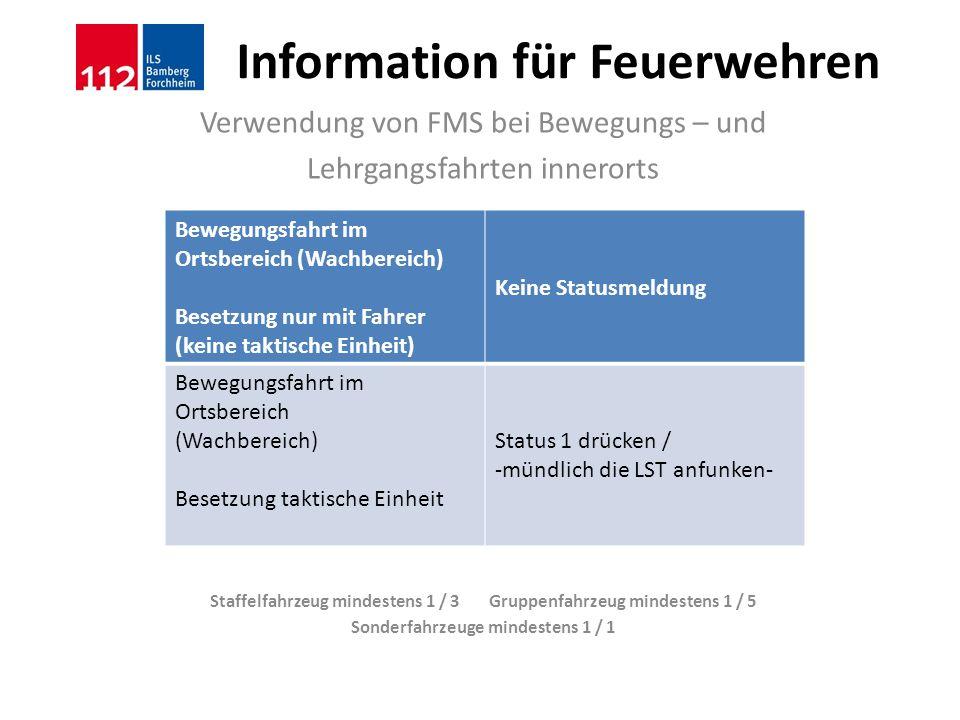 Information für Feuerwehren Verwendung von FMS bei Bewegungs – und Lehrgangsfahrten innerorts Staffelfahrzeug mindestens 1 / 3 Gruppenfahrzeug mindest