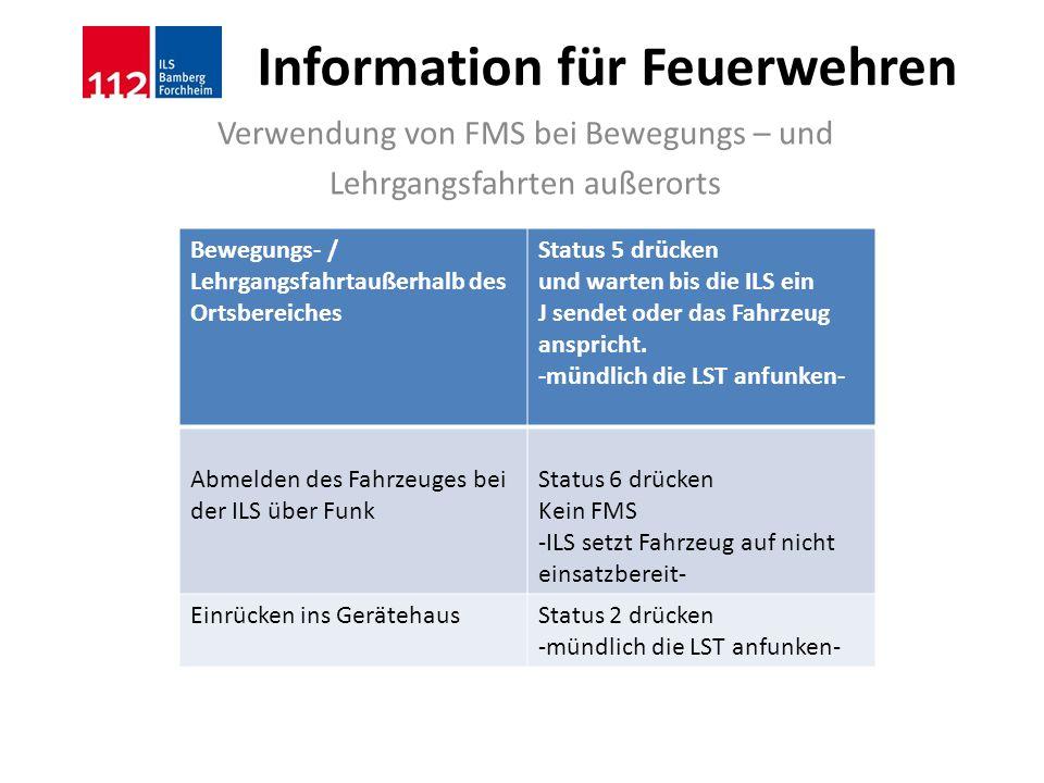 Information für Feuerwehren Verwendung von FMS bei Bewegungs – und Lehrgangsfahrten außerorts Bewegungs- / Lehrgangsfahrtaußerhalb des Ortsbereiches S