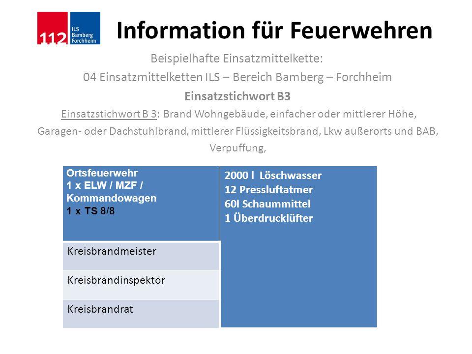 Information für Feuerwehren Beispielhafte Einsatzmittelkette: 04 Einsatzmittelketten ILS – Bereich Bamberg – Forchheim Einsatzstichwort B3 Einsatzstic