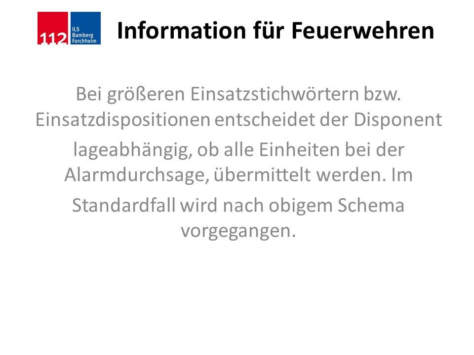Information für Feuerwehren Bei größeren Einsatzstichwörtern bzw. Einsatzdispositionen entscheidet der Disponent lageabhängig, ob alle Einheiten bei d