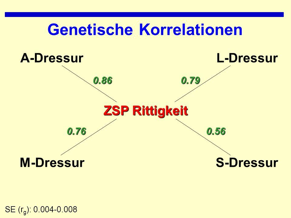 Genetische Korrelationen S-Dressur A-DressurL-Dressur M-Dressur 0.790.86 0.760.56 ZSP Rittigkeit SE (r g ): 0.004-0.008