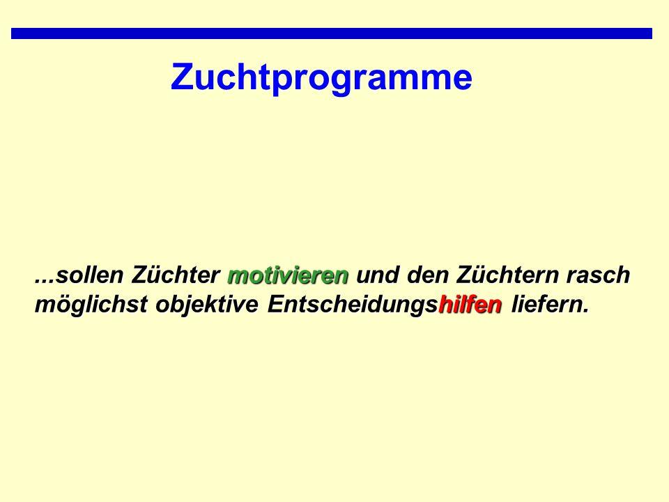 Zuchtprogramme...sollen Züchter motivieren und den Züchtern rasch möglichst objektive Entscheidungshilfen liefern.