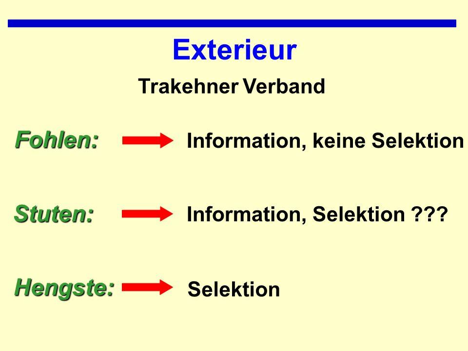 Exterieur Information, keine Selektion Fohlen: Information, Selektion ???Stuten: SelektionHengste: Trakehner Verband