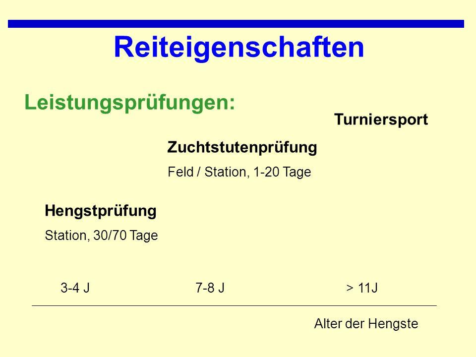 Reiteigenschaften Leistungsprüfungen: Alter der Hengste Hengstprüfung Station, 30/70 Tage Zuchtstutenprüfung Feld / Station, 1-20 Tage Turniersport > 11J7-8 J3-4 J