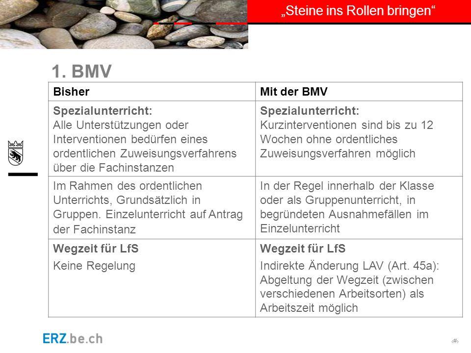 # Steine ins Rollen bringen 1. BMV BisherMit der BMV Spezialunterricht: Alle Unterstützungen oder Interventionen bedürfen eines ordentlichen Zuweisung
