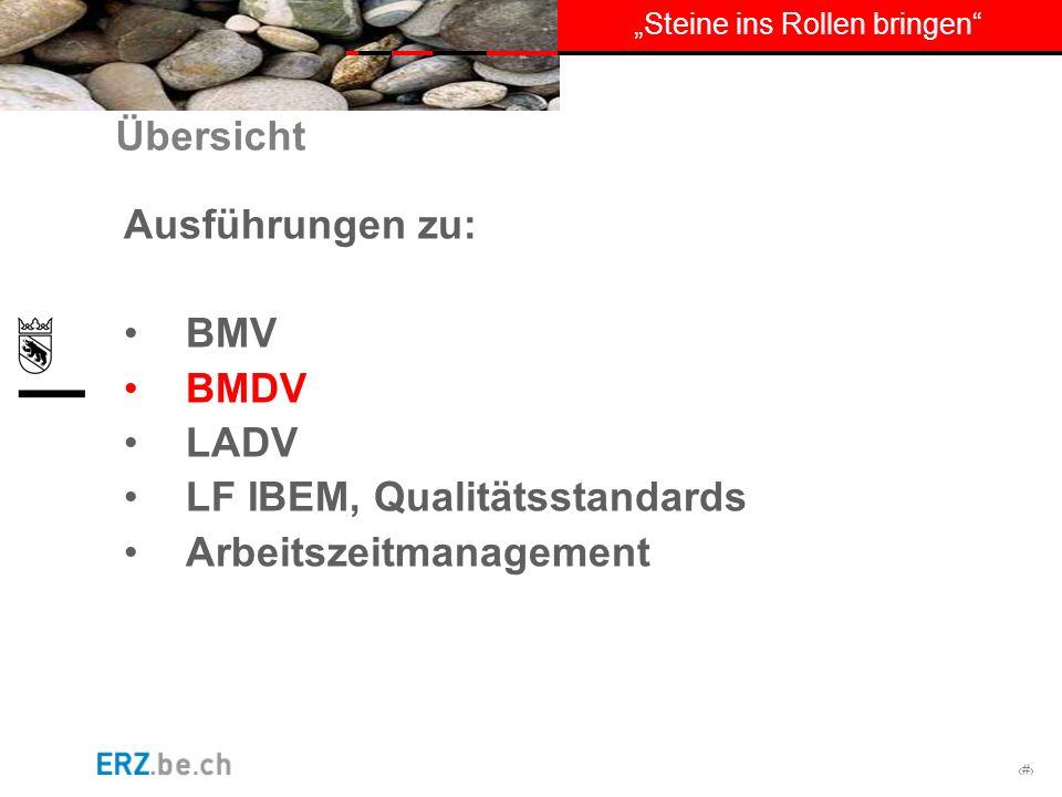# Steine ins Rollen bringen Übersicht Ausführungen zu: BMV BMDV LADV LF IBEM, Qualitätsstandards Arbeitszeitmanagement