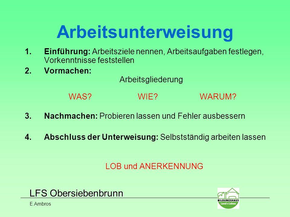 LFS Obersiebenbrunn E.Ambros 1.Einführung: Arbeitsziele nennen, Arbeitsaufgaben festlegen, Vorkenntnisse feststellen 2.Vormachen: Arbeitsgliederung WA