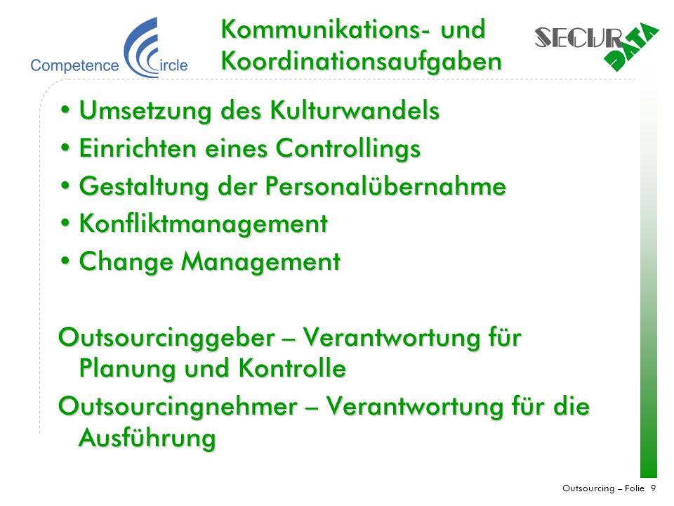 Outsourcing – Folie 9 Kommunikations- und Koordinationsaufgaben Umsetzung des KulturwandelsUmsetzung des Kulturwandels Einrichten eines ControllingsEi