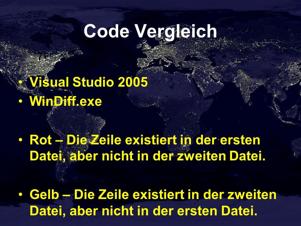 Code Vergleich Visual Studio 2005 WinDiff.exe Rot – Die Zeile existiert in der ersten Datei, aber nicht in der zweiten Datei.