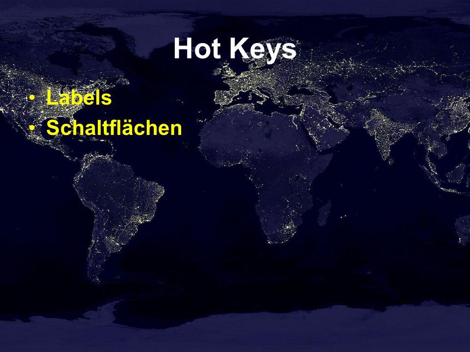 Hot Keys Labels Schaltflächen