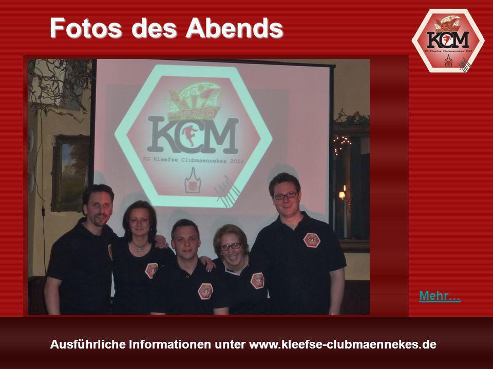 Ausführliche Informationen unter www.kleefse-clubmaennekes.de Fotos des Abends Mehr…